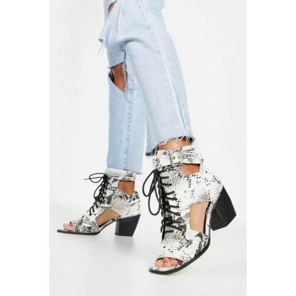 Snake Cut Work Peeptoe Shoe Boots in Grey