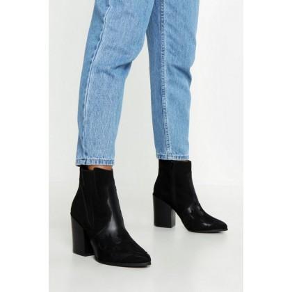 Block Heel Pointed Toe Shoe Boots in Black