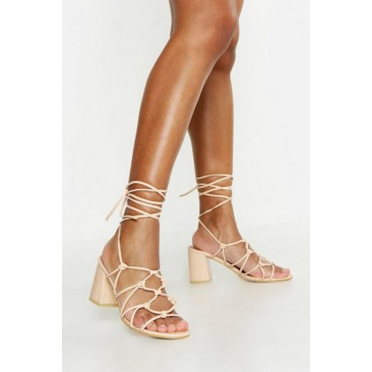 Caged Wrap Strap Low Block Heels in Nude