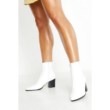 Pointed Toe Low Block Ankle Boots in White