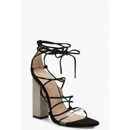 Embellished Block Heel Lace Sandals in Black