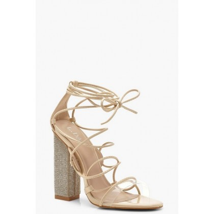 Embellished Block Heel Lace Sandals in Nude