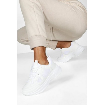 Chunky Sole Lace Up Sneakers in White