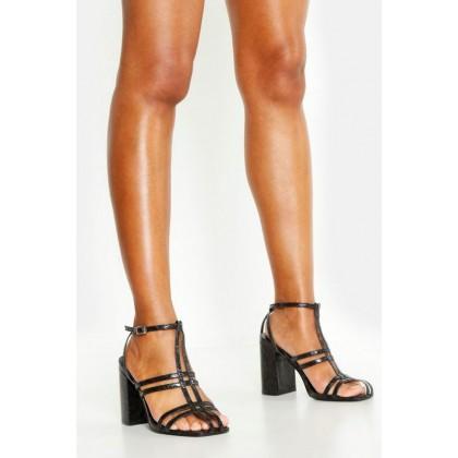 Caged Block Heel Sandals in Black