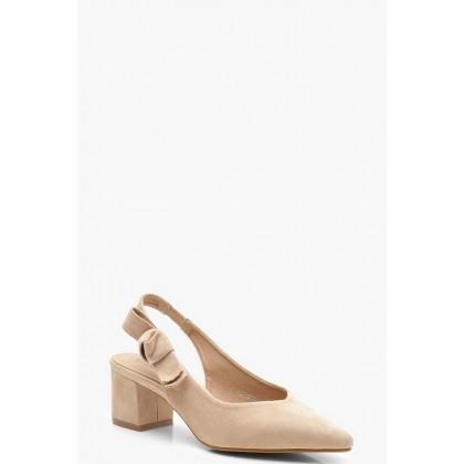 Block Heel Slingback Ballets in Taupe