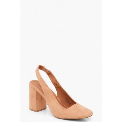 Block Heel Square Toe Slingback Court Shoes in Tan