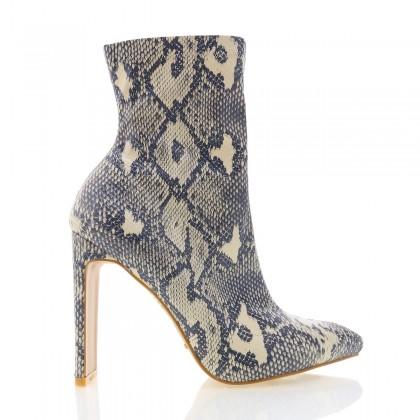 Eleni Cream/Grey Snake by Billini Shoes
