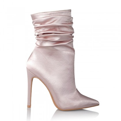 Champagne Satin Boots by Billini Shoes