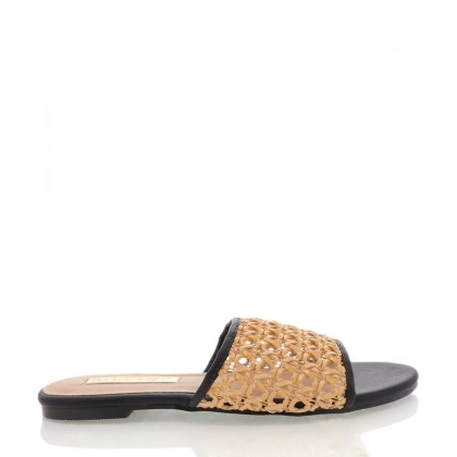 Inez Camel Rattan/Black by Billini Shoes