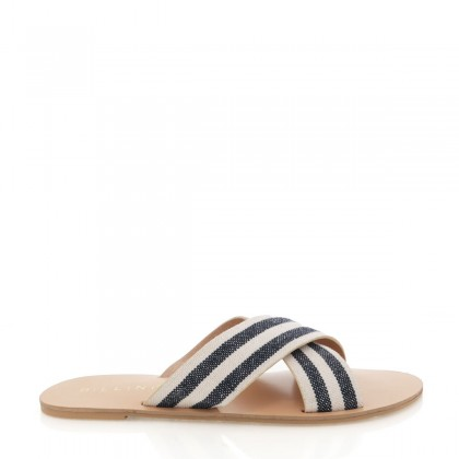 Majorca Navy/Cream Stripe by Billini Shoes