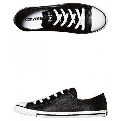 Chuck Taylor Womens All Star Dainty Leather Shoe Black