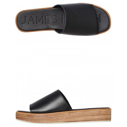 Stevie Wooden Stacked Slide Black By JAMES SMITH