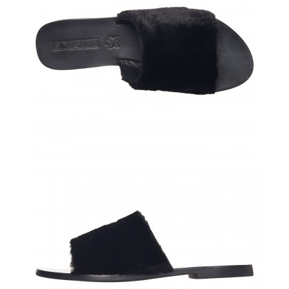 Womens Teresa Fluffy Slide Black By SOL SANA