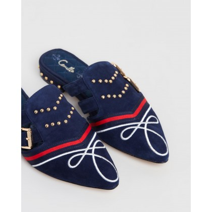Buckle Slippers Navy by Camilla