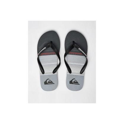 Molokai Highline Slab Thongs in Black/Grey/Black by Quiksilver