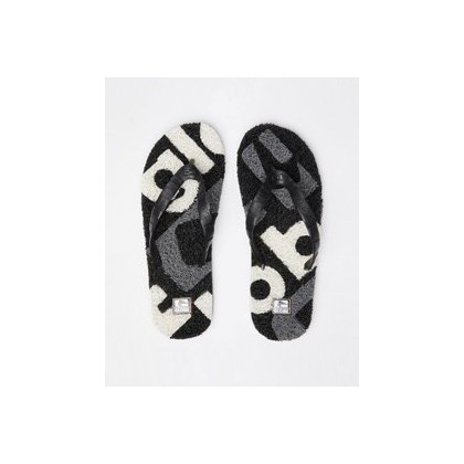 Merkin Matrix Thongs in Black/White/Mid Grey by Globe