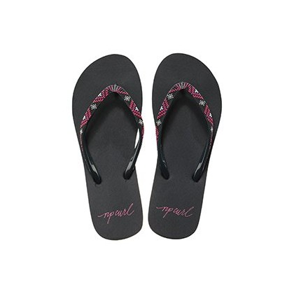 Frontier Thongs in Black/Red by Rip Curl
