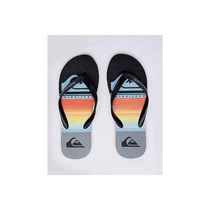 Highline Slab Thongs in Black/Grey/Blue by Quiksilver
