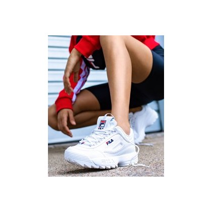 Womens Disruptor II Shoes in White/Peacoat/Vred by Fila