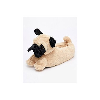 "Pug Slippers in ""Brown""  by GET IT NOW"