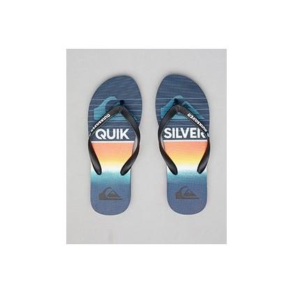 Molokai Highline Slab Thongs in Black/Black/Blue by Quiksilver