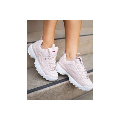 Womens Disruptor II Shoes in Pink by Fila