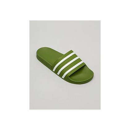 "Adilette Slides in ""Tech Olive/Ftwr White""  by Adidas"