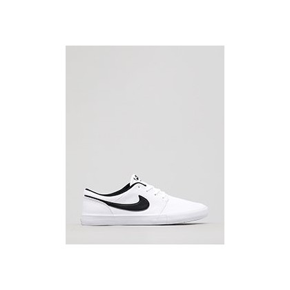 Women's SB Solarsoft Portmore II Shoes in White/Black by Nike