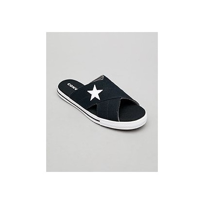 One Star Slide Sandals in Black by Converse