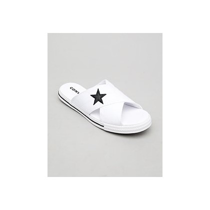 One Star Slide Sandals in White/Black by Converse