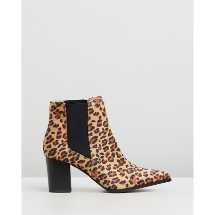 Riviera Ankle Boots Leopard Microsuede by Dazie