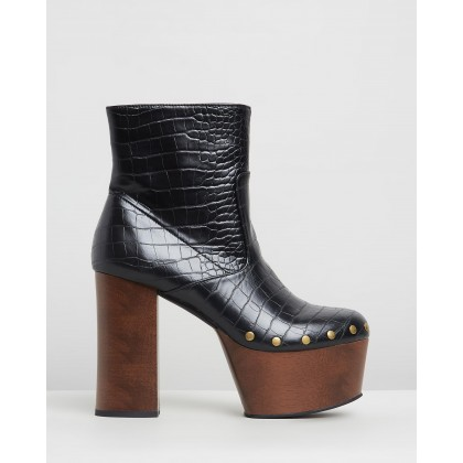 Stanley Ankle Boots Black Croc by Dazie