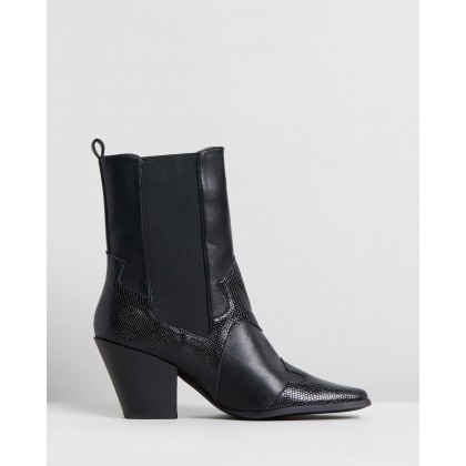 Sapphire Ankle Boots Black & Black Snake by Dazie