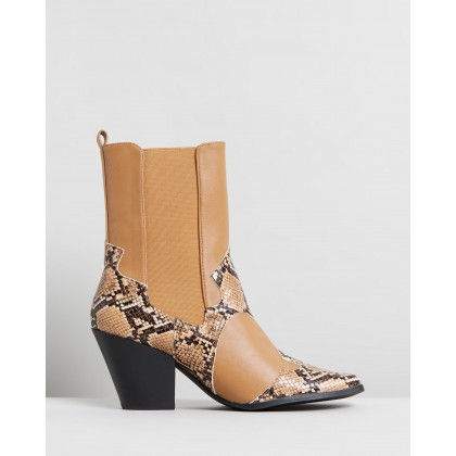 Sapphire Ankle Boots Tan & Snake by Dazie