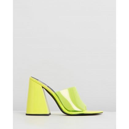 Raye Mules Neon Yellow by Dazie