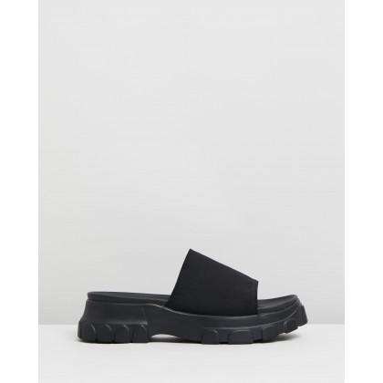 Serious Flatform Slides Black by Dazie