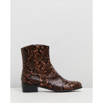 Dallas Ankle Boots Snakeskin by Dazie