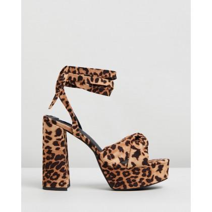 Devon Platform Heels Leopard Microsuede by Dazie