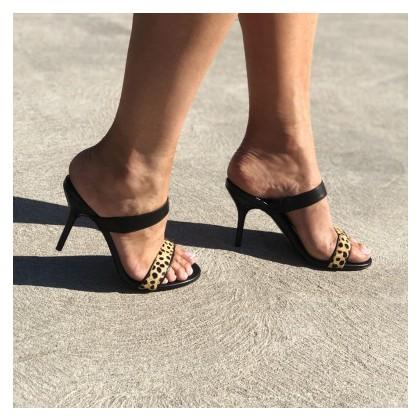 Delilah - Black/Leopard by Siren Shoes