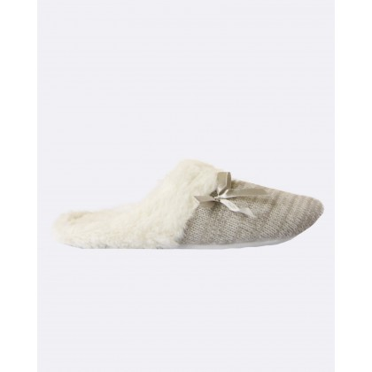 Deshabille Slippers Grey / Ivory by Deshabille Sleepwear