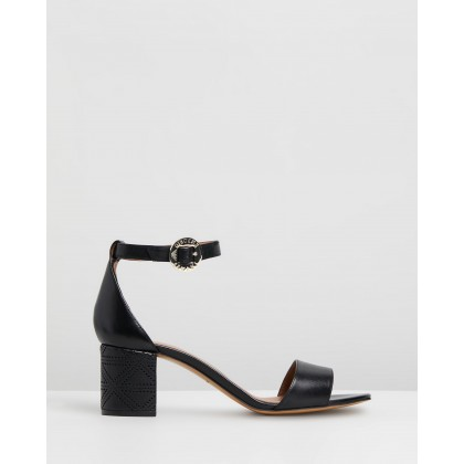Leather Sandals With Perforated Triangle Motif Heels Black by Emporio Armani