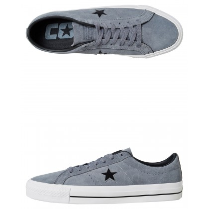 Womens One Star Pro Suede Shoe Grey Black By CONVERSE