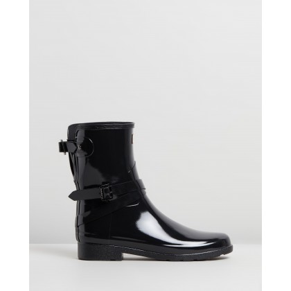 Short Refined Adjustable Gloss Boots Black by Hunter
