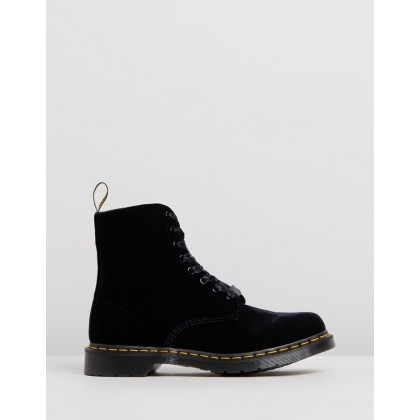 1460 Pascal Velvet 8-Eye Boots - Women's Black Velvet by Dr Martens