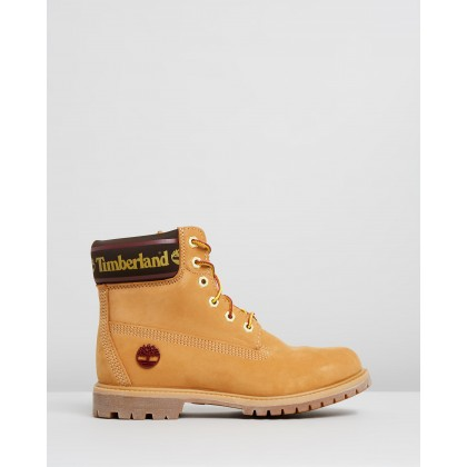 6-Inch Premium Boots Wheat Nubuck Logo by Timberland