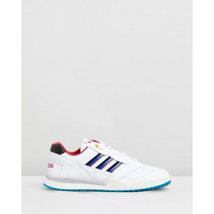 A.R Trainers - Unisex Feather White, Collegiate Burgundy & Collegiate Royal by Adidas Originals