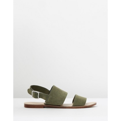 Abigail Leather Sandals Olive Suede by Atmos&Here