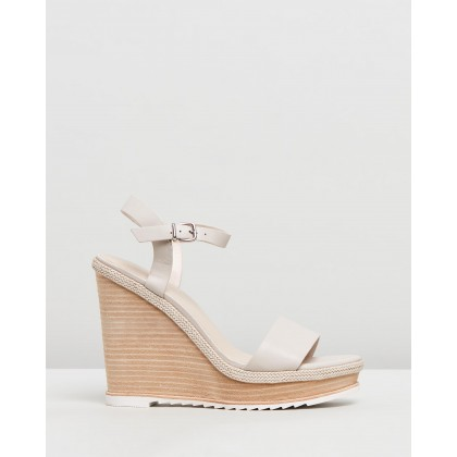 Adele Wedge Sandals Bone Leather by Jo Mercer
