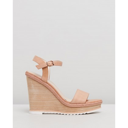 Adele Wedge Sandals Natural Leather by Jo Mercer