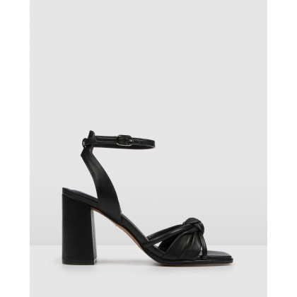 Adia High Sandals Black Leather by Jo Mercer